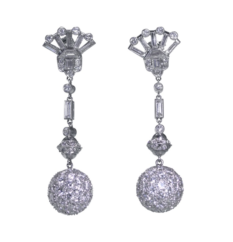 Pair of Platinum and Diamond Pendant-Earrings, circa 1950
