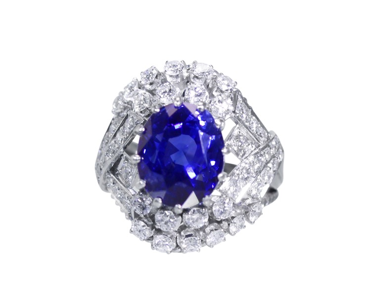 Platinum, Sapphire and Diamond Ring, circa 1950