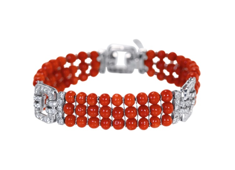 Art Deco Platinum, Coral and Diamond Bracelet