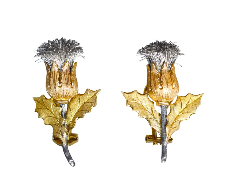 Pair of 18 Karat Gold and Silver Earrings by Buccellati, Italy