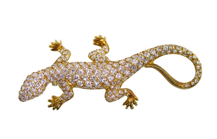 18 Karat Two-Tone Gold and Diamond Lizard Brooch, Italy