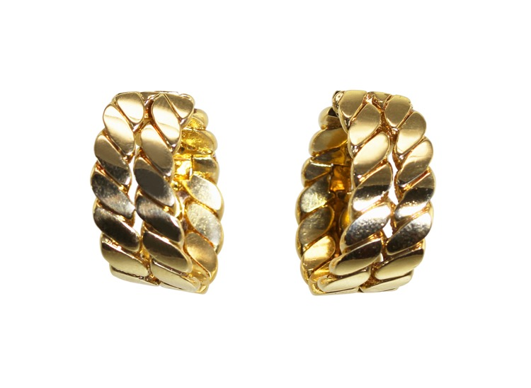 Pair of 18 Karat Gold Hoop Earclips by M. Gerard