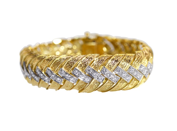 18 Karat Gold and Diamond Bracelet, Italy, circa 1970