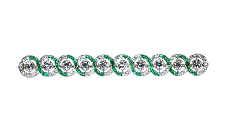 Art Deco Platinum, Emerald and Diamond Bar Brooch by Tiffany & Co.