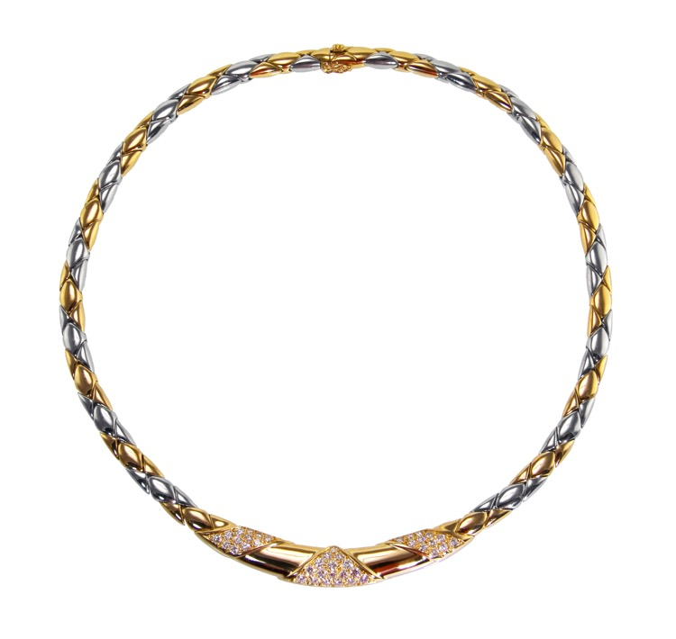 18 Karat Two-Tone Gold and Diamond Necklace by Cartier, France