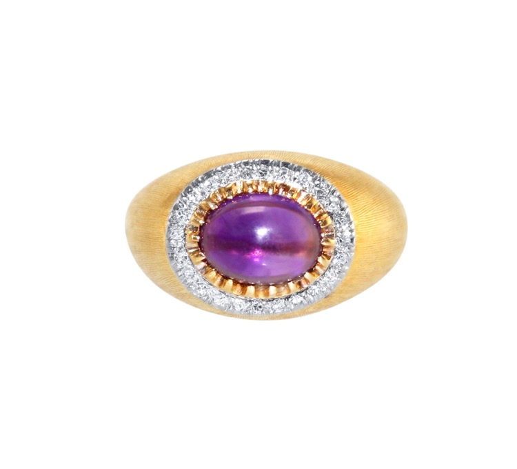 18 Karat Two-Tone Gold, Amethyst and Diamond Ring by Mario Buccellati, circa 1950