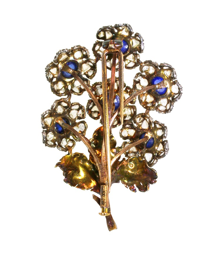 18 Karat Gold, Silver, Sapphire and Diamond Flower Brooch by Mario Buccellati, Italy, circa 1935 - Image #2