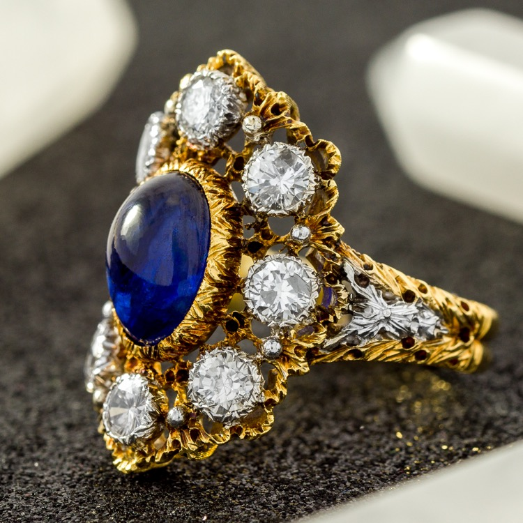 18 Karat Two-Tone Gold, Sapphire and Diamond Ring by Buccellati, Italy, circa 1950s - Image #1