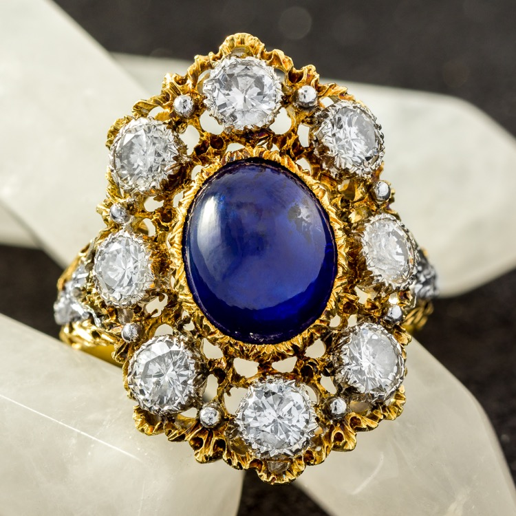 18 Karat Two-Tone Gold, Sapphire and Diamond Ring by Buccellati, Italy, circa 1950s