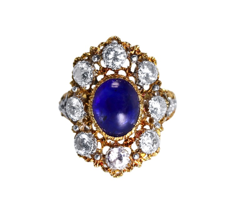 18 Karat Two-Tone Gold, Sapphire and Diamond Ring by Buccellati, Italy, circa 1950s - Image #4