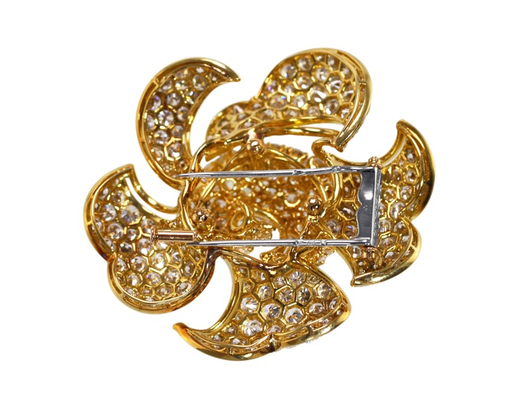 18 Karat Gold and Diamond Flower Brooch by Bulgari - Image #2