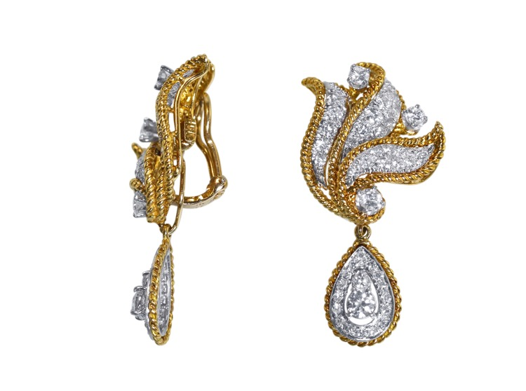 Pair of 18 Karat Gold and Diamond Day/Night Earclips - Image #2