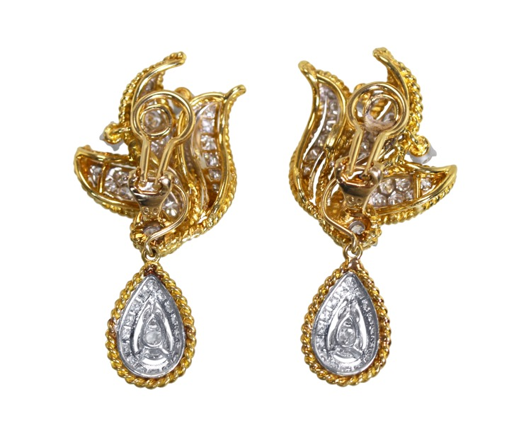 Pair of 18 Karat Gold and Diamond Day/Night Earclips - Image #3