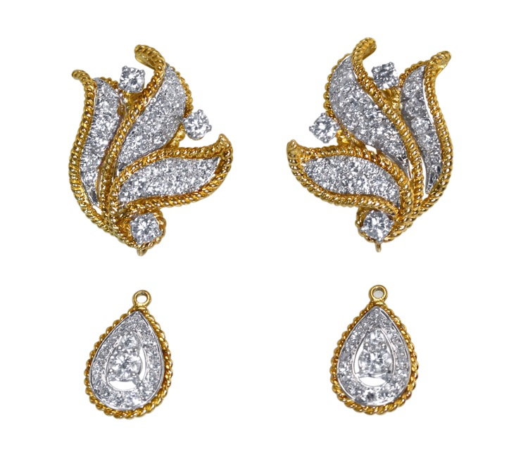 Pair of 18 Karat Gold and Diamond Day/Night Earclips - Image #5