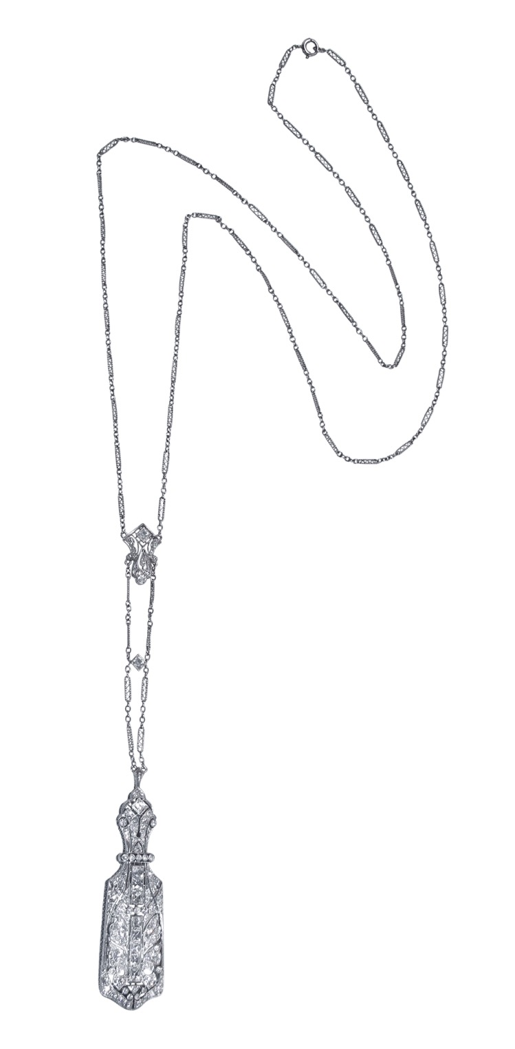 Art Deco Platinum and Diamond Lorgnette Lonchain