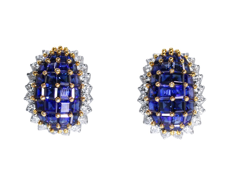 Pair of Platinum, 18 Karat Gold, Sapphire and Diamond Earclips by Oscar Heyman & Brothers
