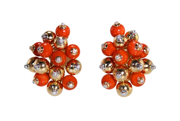 Pair of 18 Karat Two-Tone Gold, Coral and Diamond Earclips