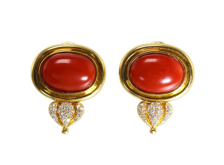 Pair of 18 Karat Gold, Coral and Diamond Earclips