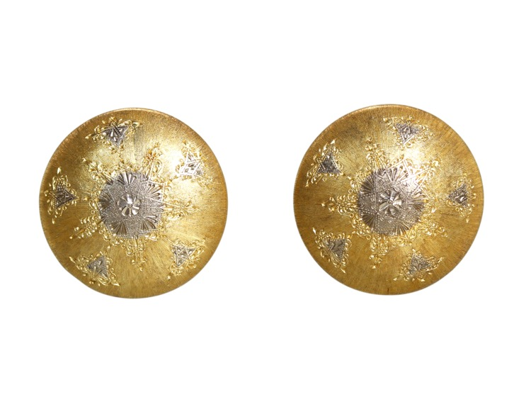Pair of 18 Karat Two-Tone Gold Earclips by M. Buccellati