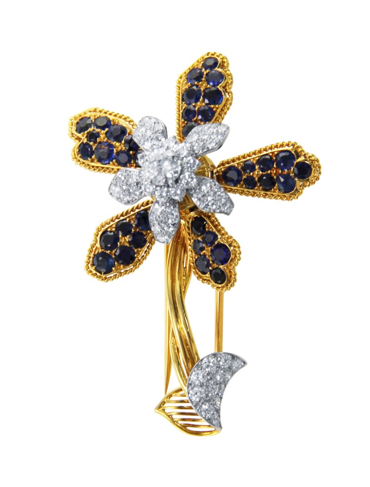 18 Karat  Gold, Platinum, Sapphire and Diamond Brooch by Cartier, Paris, circa 1940