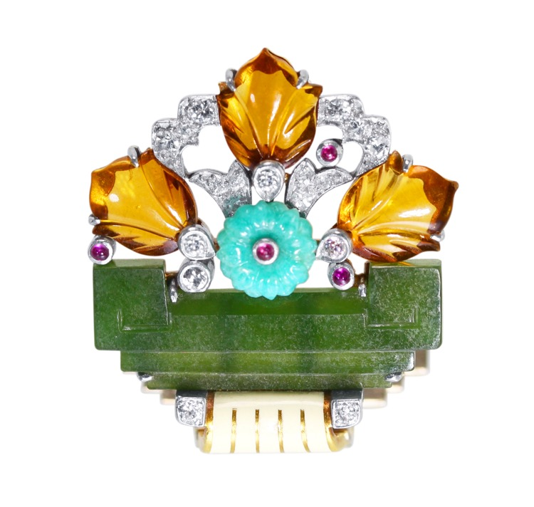 Art Deco 18 Karat Gold, Platinum, Diamond, Ruby, Colored Stone  and Enamel Brooch by Cartier - Image #4