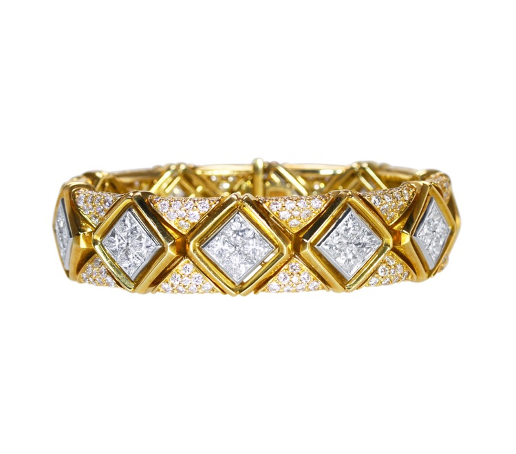 18 Karat Gold, Platinum and Diamond Bracelet by Bulgari, Italy