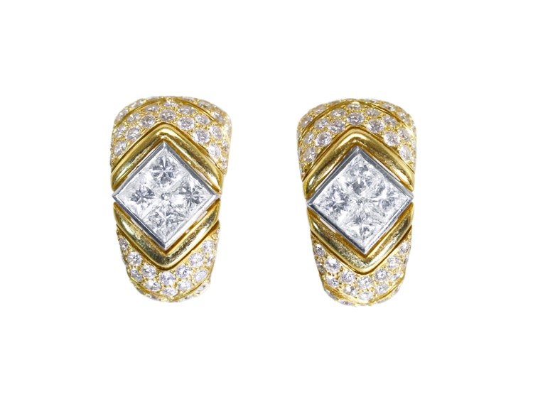 Pair of 18 Karat Gold, Platinum and Diamond Earclips by Bulgari, Italy