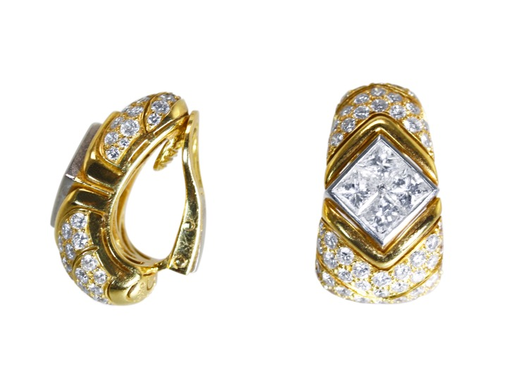 Pair of 18 Karat Gold, Platinum and Diamond Earclips by Bulgari, Italy - Image #2
