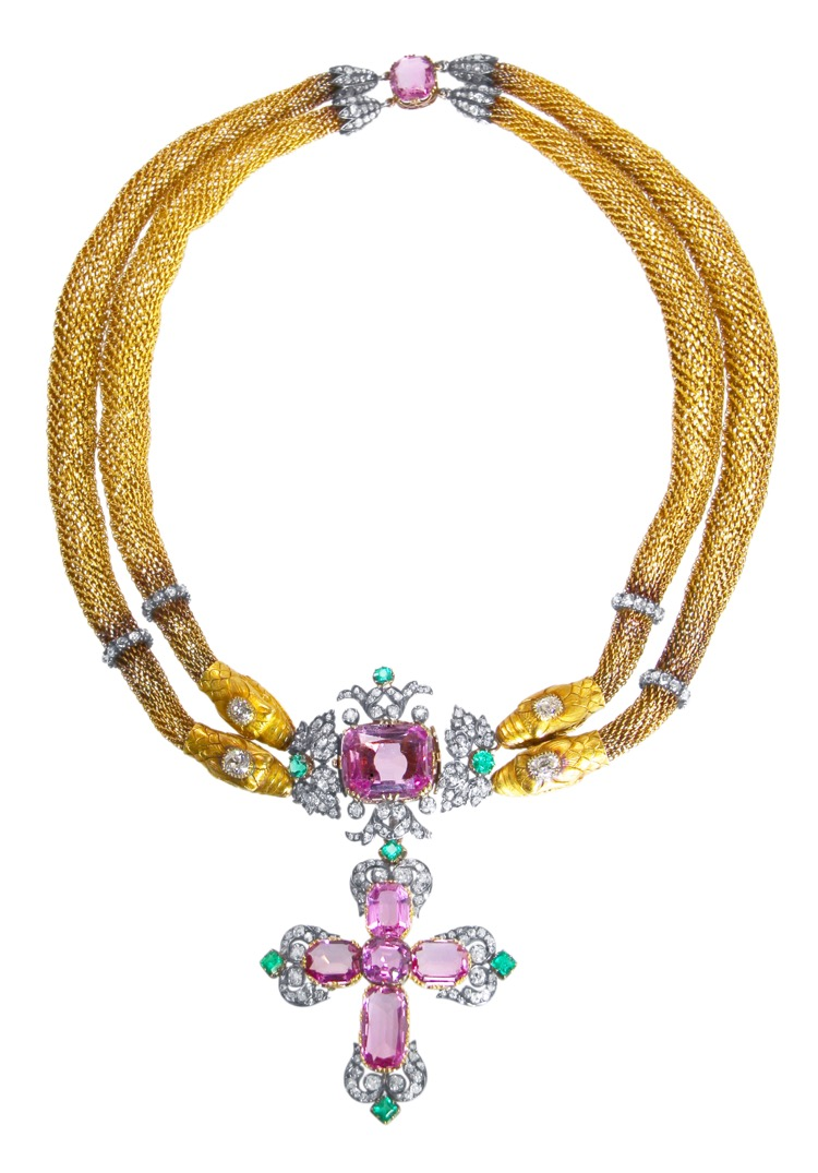 Antique 18 Karat Gold, Silver, Pink Topaz, Emerald and Diamond Necklace