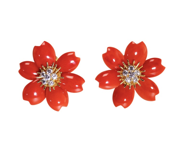 Pair of 18 Karat Gold, Coral and Diamond