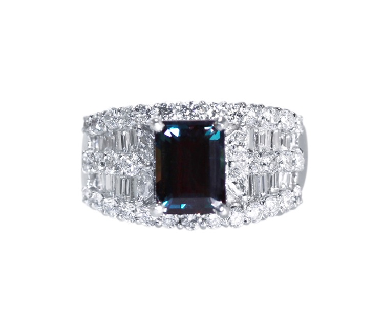 Platinum, Alexandrite and Diamond Ring
