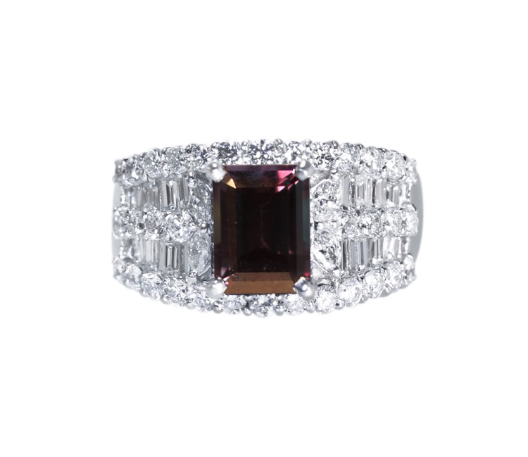 Platinum, Alexandrite and Diamond Ring - Image #2