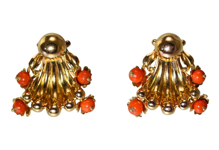 Pair of 18 Karat Gold and Coral Earclips, France