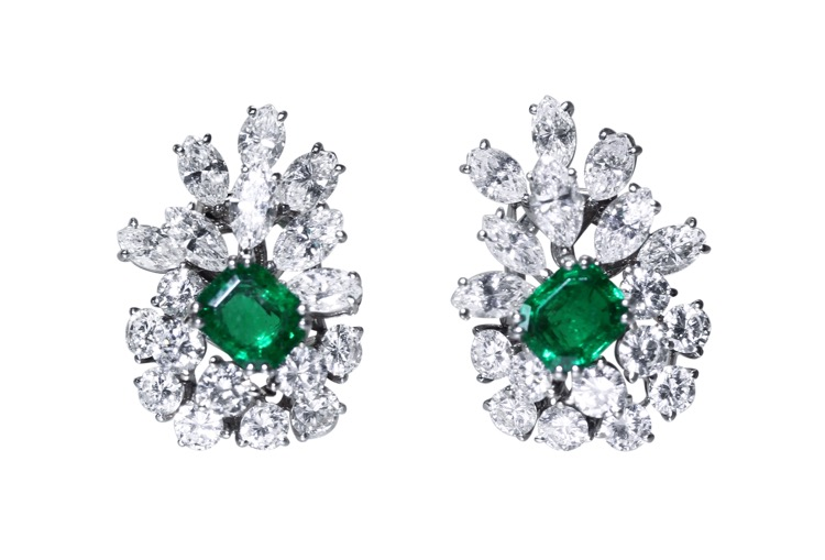 Pair of 18 Karat White Gold, Emerald and Diamond Earclips, France