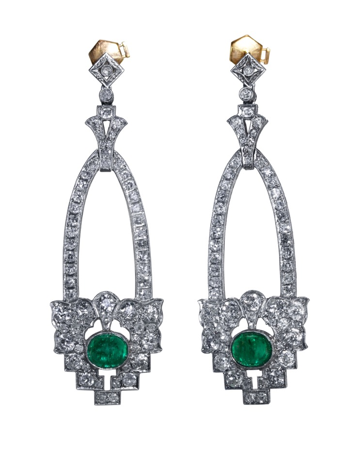 Pair of Art Deco, Platinum, Emerald and Diamond Earrings