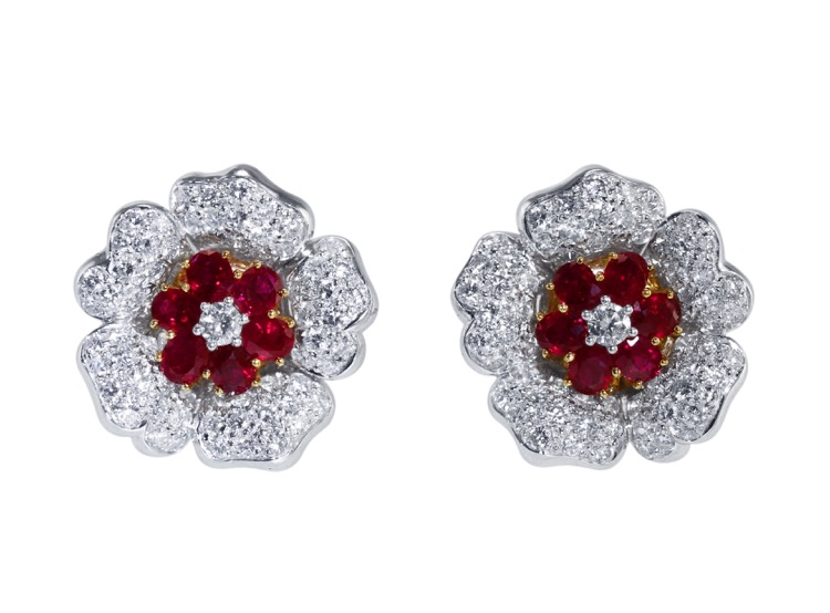 Pair of Platinum, 18 Karat Gold, Ruby and Diamond Earclips