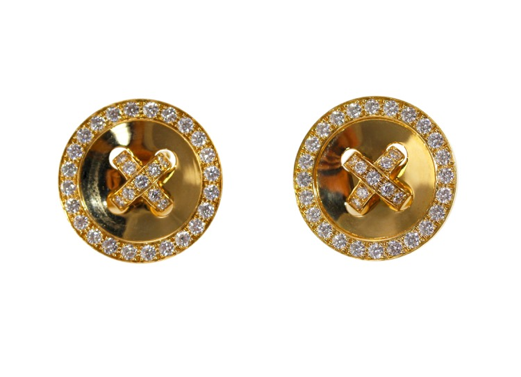 Pair of 18 Karat Gold and Diamond Earclips by Van Cleef & Arpels, France