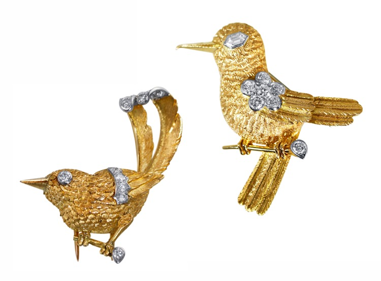 Pair of 18 Karat Gold, Platinum and Diamond Brooches by Cartier, circa 1950