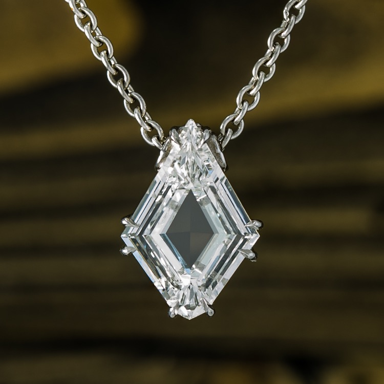 Platinum and Diamond Solitaire Pendant Necklace  - Image #2