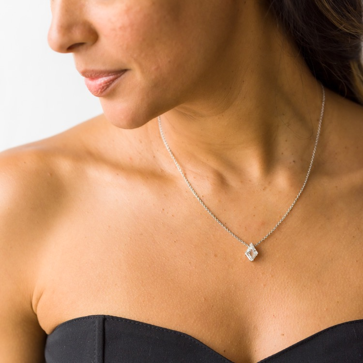 Platinum and Diamond Solitaire Pendant Necklace  - Image #3