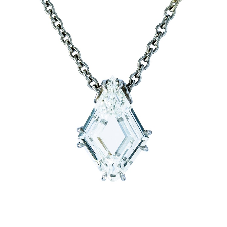 Platinum and Diamond Solitaire Pendant Necklace  - Image #4
