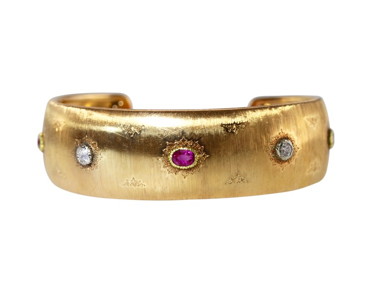 18 Karat Gold, Ruby and Diamond Cuff by Buccellati, Italy, circa 1940