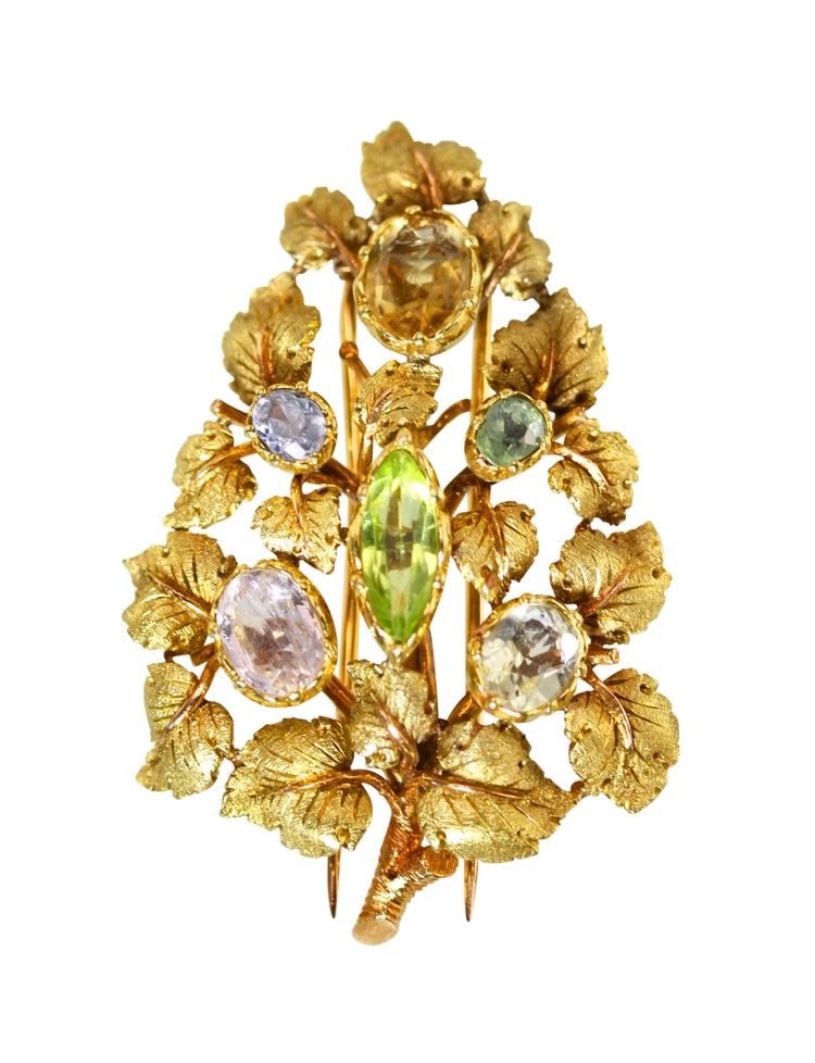 18 Karat Gold and Multi-Colored Beryl Brooch by Buccellati, Italy, circa 1960