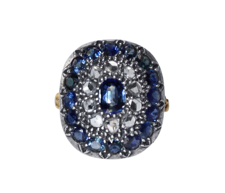18 Karat Gold, Silver, Sapphire and Diamond Ring