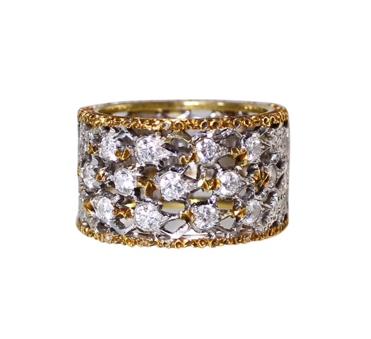 18 Karat Two-Tone Gold and Diamond Ring by Buccellati, Italy