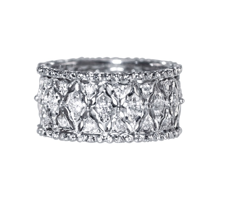 18 Karat White Gold and Diamond Band by Buccellati, Italy