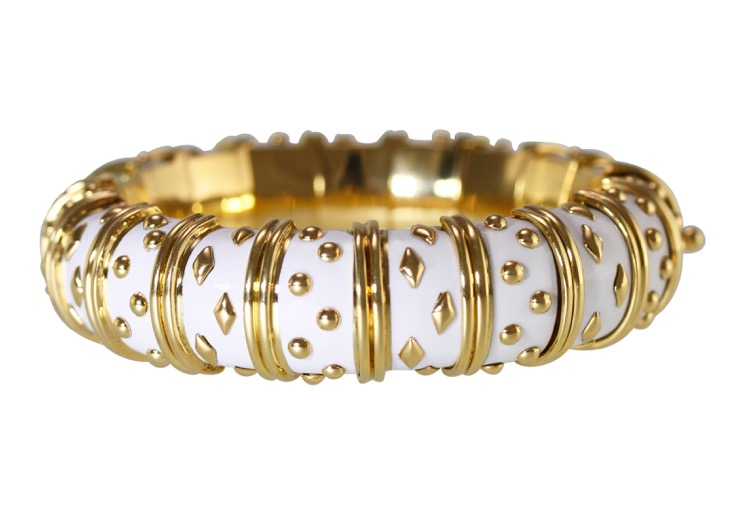 18 Karat Gold and White Enamel Bangle Bracelet by Schlumberger for Tiffany & Co., France - Image #3