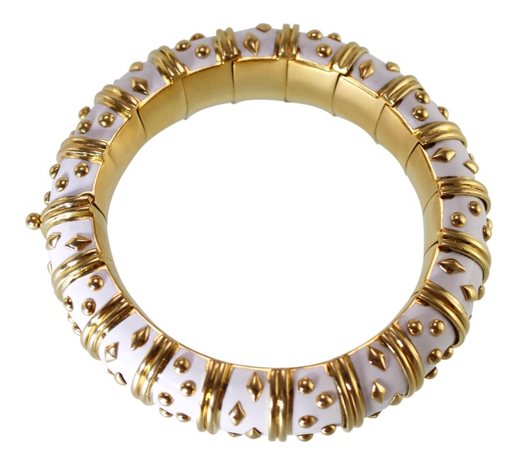 18 Karat Gold and White Enamel Bangle Bracelet by Schlumberger for Tiffany & Co., France - Image #4