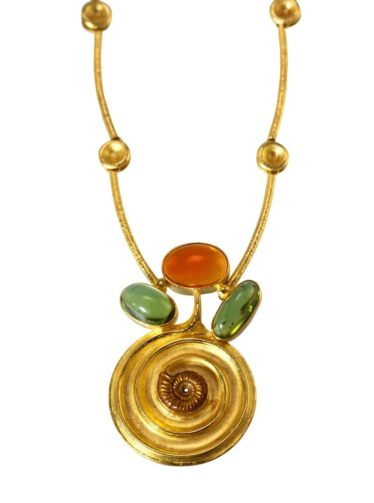 22 Karat Gold, Fire Opal, Green Tourmaline and Ammonite Necklace