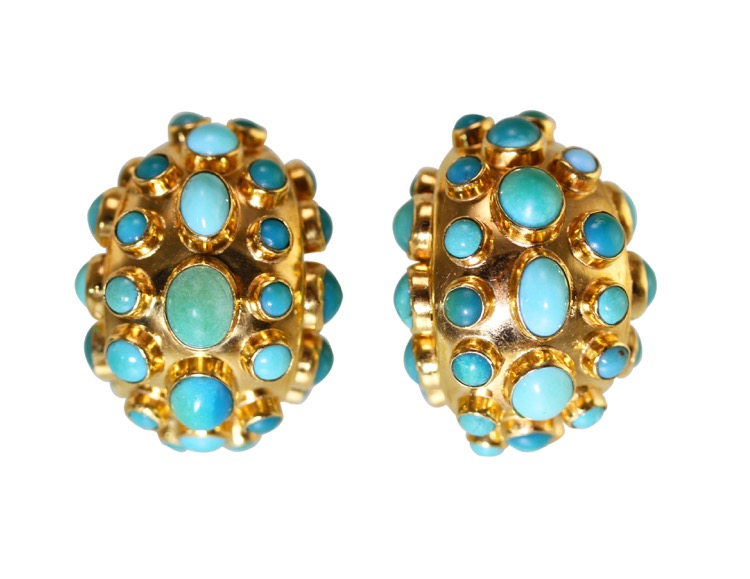 Pair of 18 Karat Gold and Turquoise Earclips
